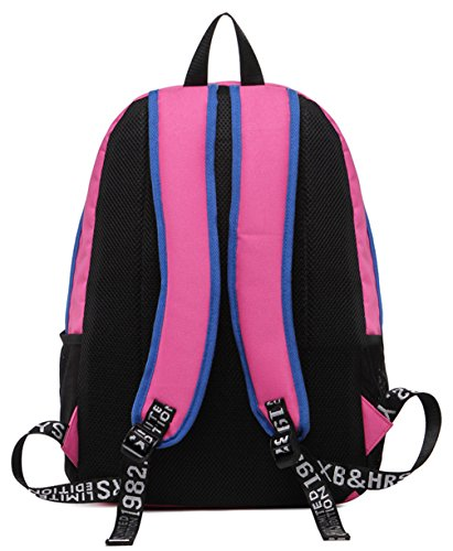 Longzibog Dual verstellbare Schultergurte und Hängeschlaufenband 2016 Neue Maedchen Rucksack Schulranzen Schwarz