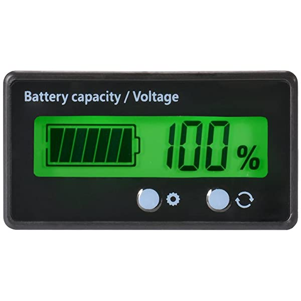 CPTDCL Multifunction LCD Lead Acid Battery Capacity Meter Voltmeter with Temperature Display Battery Fuel Gauge Indicator Voltage Monitor Default-12V Lead Acid-Green