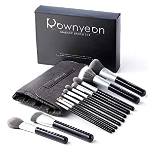 Rownyeon Make Up Brushes Kits de kits de maquillaje profesional de 12 piezas para la fundación Kabuki Blush Corrector Eyeshadow Brush Sets con bolsa de cosméticos