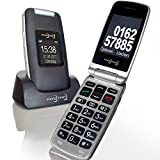 Großtasten Mobiltelefon, Seniorenhandy MB 100 Graphit, Klapphandy u.a. mit Kamera, Notruftaste, sprechender Tastatur sowie LED Lampe