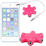 DURAGADGET Divisor De Auriculares Rosa Para Apple iPod Touch ( 6 / 5 / 4 / 3 / 2 / 1 Generación ) - ¡Conecte Hasta 6 Auriculares!