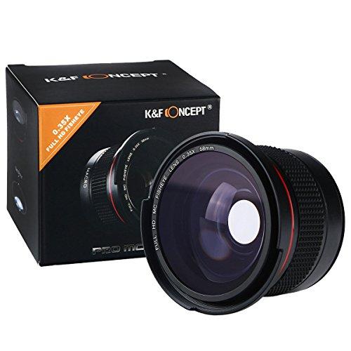 K&F Fisheye Objektiv 58mm Fischaugenobjektiv 58mm 0.35X Super-Fischauge Weitwinkelobjektiv Aufsatz mit Makro für Canon Nikon DSLR Kamera Nikon-dslr D300s Kit