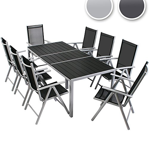 Miadomodo – Conjunto de muebles para jardín de aluminio (8 sillas y 1 mesa) – Color de marco a elegir