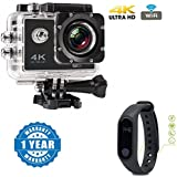 Captcha 4K WIFI Sports Action Camera Ultra HD Waterproof DV Camcorder 12MP 170 Degree Wide Angle With Intelligence Water Proof Smart Fitness Band Support Bluetooth / Heart Sensor Compatible With Xiaomi, Lenovo, Apple, Samsung, Sony, Oppo, Gionee, Vivo Sma