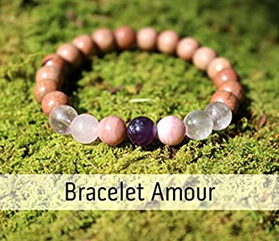 Bracelet amour pour femme, je t'aime, perles de bois et pierres naturelles, améthyste, quartz rose et rhodonite, cadeau anniversaire Noël mariage fiançailles