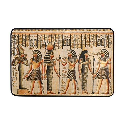 JSTEL Vintage Ägypten Art-Fußmatte waschbar Garten Büro Fußmatte, Küche ESS-Living Badezimmer Pet Eintrag Teppiche mit Rutschfeste Unterseite 59,9x 39,9cm (Eintrag Teppich)