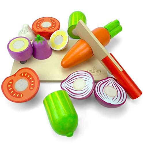 LISA & MAX Hochwertiges Holzgemüse Zum Schneiden für Kinder – Holz Zubehör für Kinderküche, Spielküche und Kaufladen – Lebensmittel Holzspielzeug mit Klett - Verbindung