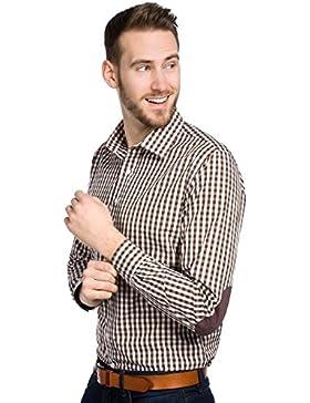 ALLBOW Camicia Quadretti Uomo Marrone Bianco, Regular Fit, Cotone, Toppe opzionali
