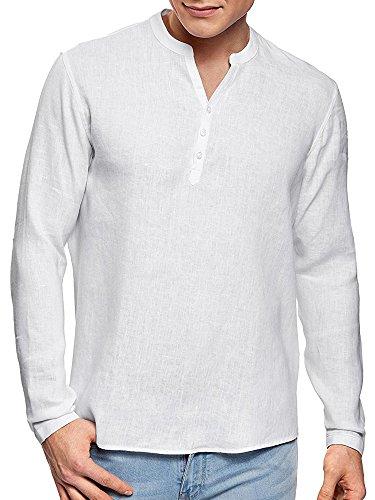 Pxmoda Herren Leinen und Baumwolle V-Ausschnitt mit Langen Ärmeln Taste Shirts (XXL, Weiß) (Baumwoll-leinen-taste)