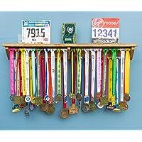 Medal Hanger Holder Display Rack With Shelf For Running Trophy, Race Photos ETC for runners marathon gymnastics triathlon football ironman london 4 gift for runners