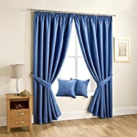 "Lujo Woodland Self diseño de Jacquard con forro plisadas readymade cortinas, azul–64""x 90"""