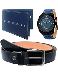 XPRA Analog Watch, Black Leather Belt & Blue Leather Wallet for Men/Boys Combo (Pack of 3) - (WL-3CMB-18)