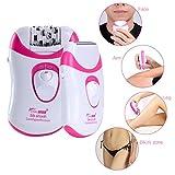 Beautywunder CHAINER 1 Gerät 5 Aufsätze Damen Rasierer Epilierer Trimmer Hornhautentferner Fuß und Haut Pflege aufladbar schnurlose Benutzung (Weiß + Pink)