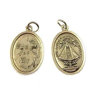 Notre-Dame de pendentif médaille San Juan catholique - 2cm en métal couleur argent