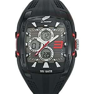 All Blacks - 680050 - Montre Homme - Quartz Analogique - Digital - Cadran Noir - Bracelet Silicone Noir