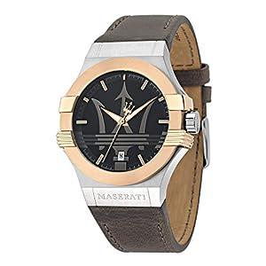 Reloj para Hombre, Colección Potenza, en Acero, PVD Oro Rosa, Cuero –