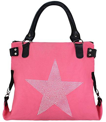 Damen FASHION Handtasche Sterne Canvas TOP TREND Tragetasche (Strass Neon Rosa)
