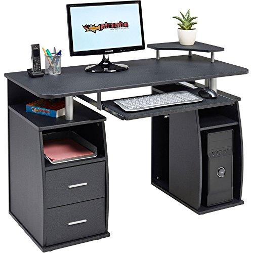 Piranha Großer Computer Schreibtisch mit 2 Schubladen und 4 Regalfächern in Schwarz BUREAU PC 5g