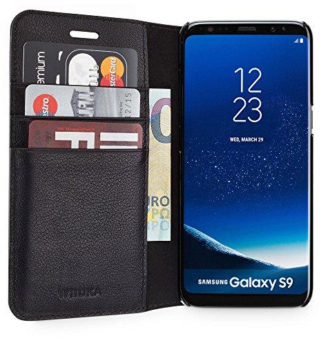 WIIUKA Echt Ledertasche -TRAVEL Away- für Samsung Galaxy S9 mit Vier Kartenfächern, extra Dünn, Tasche Schwarz, Leder Hülle kompatibel mit Samsung Galaxy S9 Dünne Handy