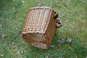 Child`s / Small, Traditional Wicker Bicycle Front Basket with Leather Straps. Children`s / Kids / Girl`s Bike. ORIGINAL `D` SHAPED