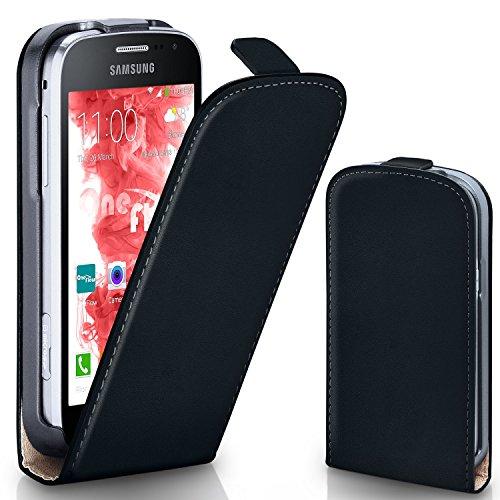 OneFlow Tasche für Samsung Galaxy Core LTE Hülle Cover mit Magnet | Flip Case Etui Handyhülle zum Aufklappen | Handytasche Handy Schutz Bumper Schutzhülle mit Schale in Schwarz