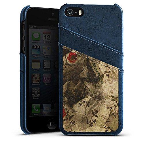 Apple iPhone 4 Housse Étui Silicone Coque Protection Vintage Rétro Collection Motif Motif Étui en cuir bleu marine