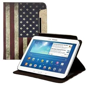 kwmobile Housse en cuir synthétique chic pour Samsung Galaxy Tab 3 10.1 en bleu blanc rouge avec fonction support pratique et Design drapeau USA