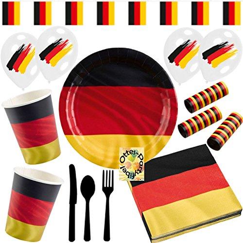 HHO Deutschland Germany German Party-Set 110tlg. für 16 Gäste : Teller Becher Servietten Luftschlangen Besteck Wimpelkette Luftballons