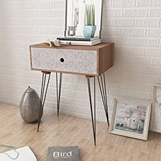 Anself Wood Bedside Table Units with Drawer Bedroom Cabinet Nightstand Brown