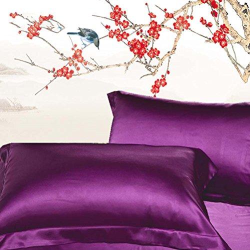YJ Bär Kunstseide Kissen Bezug Farbe Kissenbezüge für Bett Sofa Rechteck Dekoratives Kissen Shell, dunkelviolett, 2 Pcs -