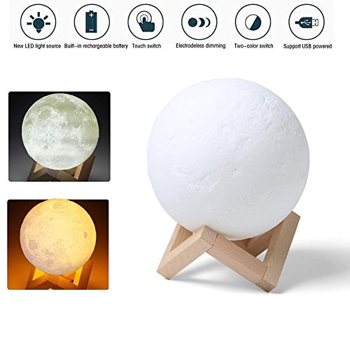 _ MAGICO 3D Stampata lampada luna Piena Lampada Moon Luna Ricarica USB Decorativo Tavolo LED Luce Notturna per Bambini Toccare il Controllo Luminosità Regolabile 8cm recensioni dei consumatori