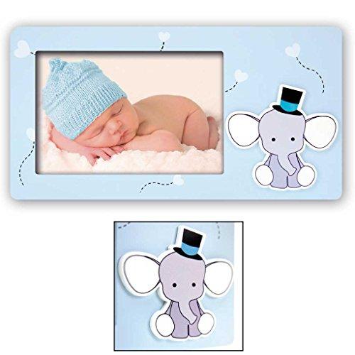 Cornice fotografica 10x15 babar con elefantino portafoto per bambini azzurra
