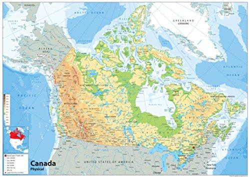 Kanada Physikalische Karte–Papier laminiert [GA] A0 Size 84.1 x 118.9 cm