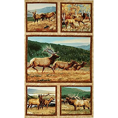 Breaking Light Elk & Deer Quilt Block Fabric Panel - by Nancy Glazier (Great for Quilting, Sewing, Craft Projects, a Quilt, Throw Pillows & More) 24 X 44 Tall by Outdoor Fabric