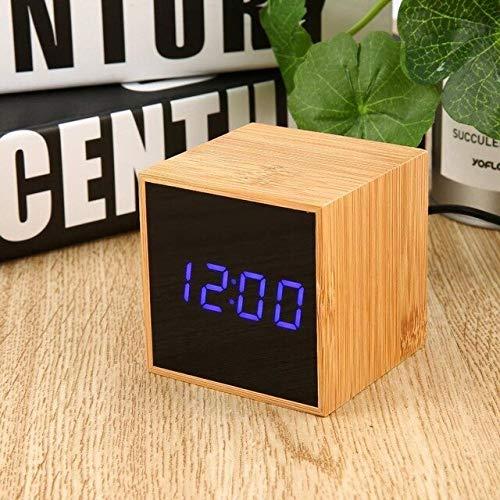 PXQOV Holz Wecker Sound Control Led Digital Wecker 3 Helligkeit USB Aufladbare Bambus Cube Uhr Schreibtisch Led Uhr Home Office Reisen blau -