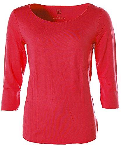 Jette Damen Basic 3/4-Arm Shirt T-Shirt Rundhals Rot 44