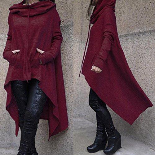Manadlian Femmes Hoodie Sweatshirt Cardigan Mode Manteau Blouson Tunique Long À capuche Elegant Pull Casual Gilet Vin rouge
