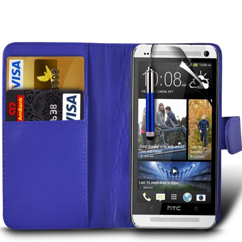 (Dunkel Blau) HTC One M7 stilvoll Lederoptik Debit / Credit Card Slot Book Style Tasche Flip Case Cover Skin, Aus- und einfahrbarem Capacative Touchscreen Stylus Pen & LCD-Screen Protector Guard von Aventus * *
