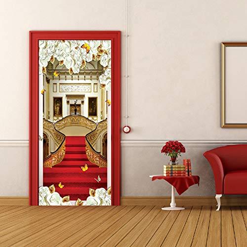 GLYOUNG Türaufkleber Tür Aufkleber Europäischen Stil 3D Treppen Roten Teppich Tapete Wohnzimmer Hotel Home Decor Design Tür Aufkleber Wandaufkleber