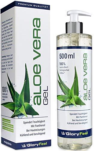 GloryFeel® Aloe Vera Gel 500ml - 100% Biologisch Kontrollierter Anbau - Kühlende After Sund Lotion und Feuchtigkeitscreme - Natürliche Kosmetik Dermatologisch getestet hergestellt in Deutschland