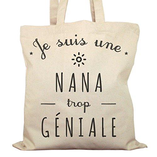 Tote Bag Imprimé Ecru - Toile en coton bio - Une Nana trop géniale
