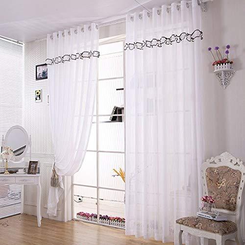 Stripe Voile Sheer Vorhänge,Elegante Spitze Fenster Dekor 1pc Panel Fenster Drapes Long Vorhang Für Wohnzimmer Schlafzimmer Balkontür-weiß 98x106(250x270cm)