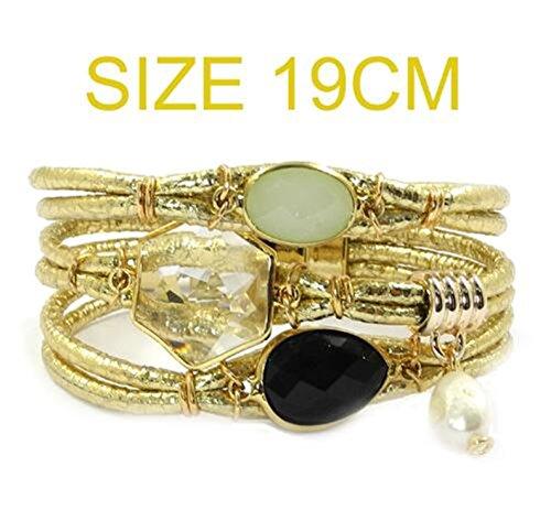 Ty-BLACK1 Bracelets ty-black1Fashion bracciale in pelle, pietra, cristallo di Boemia bracciali & Banglesjewelry e NA, colore: Gold 19cm, cod. SB-122