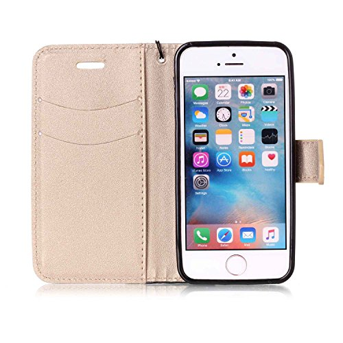 iPhone SE Coque Silicone,iPhone SE Coque en Cuir Flip Etui Housse Portefeuille Coque Bookstyle Étui Folio Housse pour iPhone 5S 5,iPhone 5S 5 Flip Wallet Leaher Case Cuir,EMAXELERS iPhone 5S Etui de P Hit Color 6