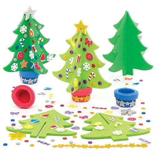Baker Ross Kit de sapins de Noël (Lot de 4) - Loisirs créatifs et décorations de Noël pour Enfants