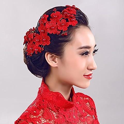 Fleurs Couronne Fleurs rouges Perles ornements de cheveux faits à la main Tête de mariée ( Couleur : Rouge )