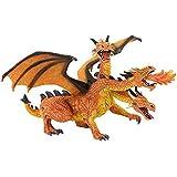 Bullyland Orange Triple Headed Dragon Figurine by Bullyland
