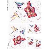 Papel de arroz decoupage: Pájaros, Flores, Hibiscus - cm.32x45