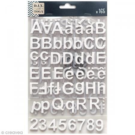 Unbekannt D.I.Y with Toga Alphabet Chipboards selbstklebend, Karton, weiß, 15x 25x 0,5cm -