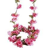 MIHOUNION 2 Pcs 2.2m Künstliche Kirschblüten Rosa Kunstblumen Hängend Dekor Blumen Girlande Künstliche Blumen aus Seide für Zimmer Balkon Wand Garten Hochzeit Party